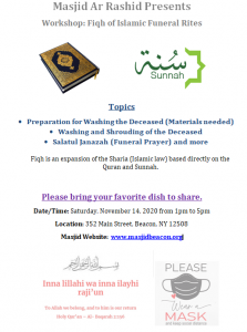 Workshop: Fiqh of Islamic Funeral Rites @ Masjid Ar Rashid